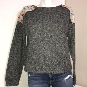 Xhilaration Dark Grey Floral Shoulder PatchSweater